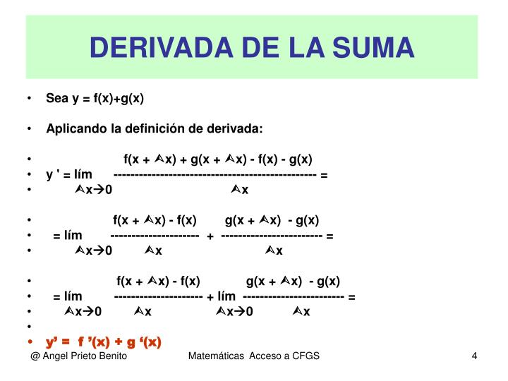 DERIVADA DE LA SUMA