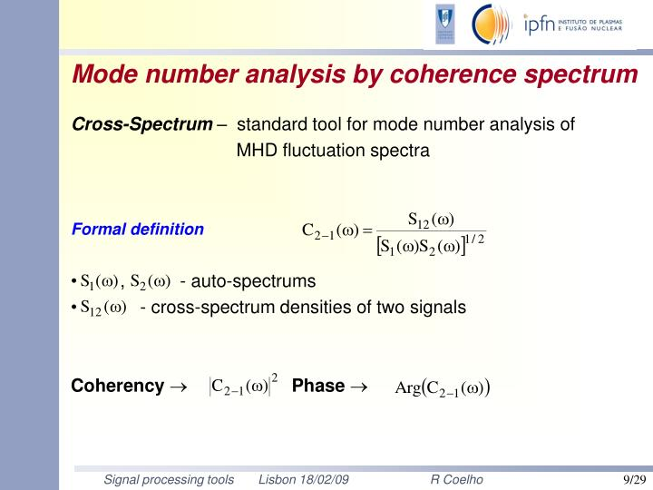 Mode number analysis by coherence spectrum