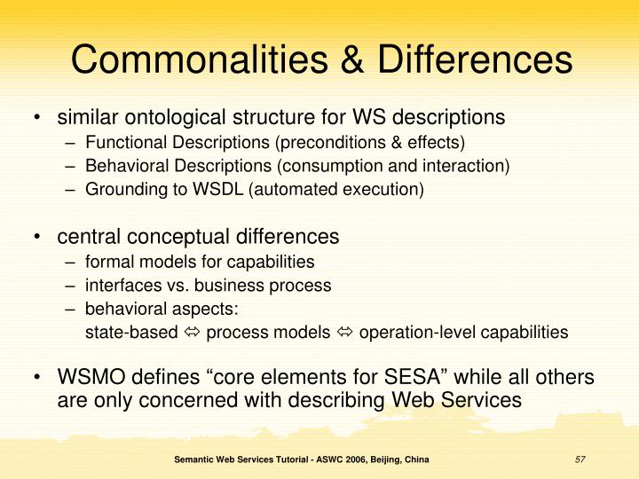Commonalities & Differences