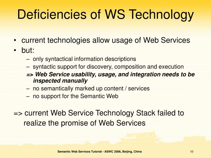 Deficiencies of WS Technology
