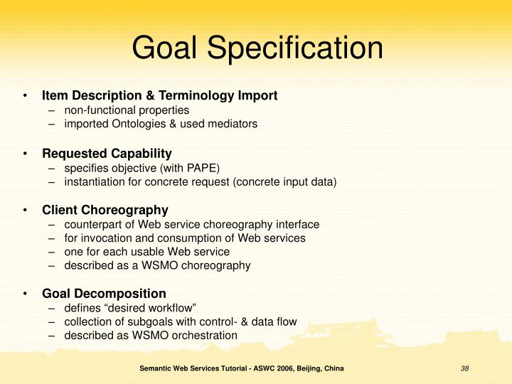 Goal Specification