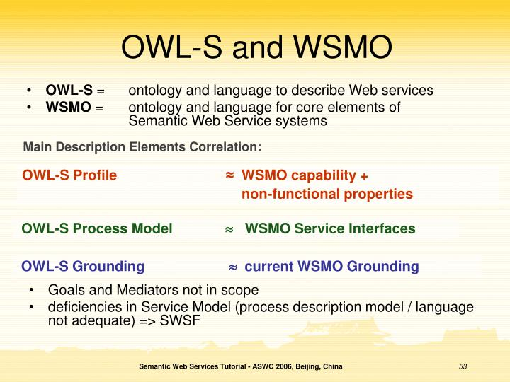 OWL-S and WSMO