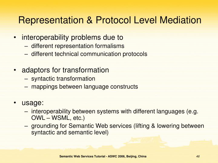 Representation & Protocol Level Mediation