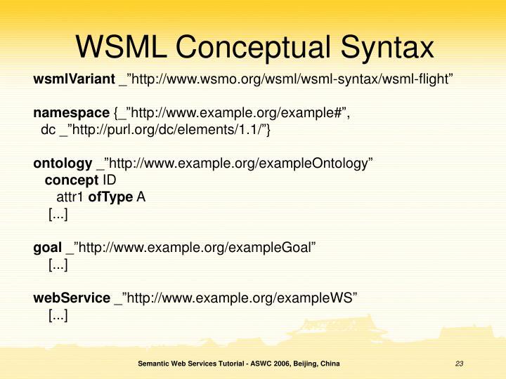 WSML Conceptual Syntax