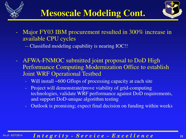 Mesoscale Modeling Cont.
