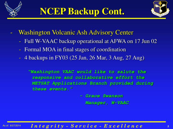 NCEP Backup Cont.