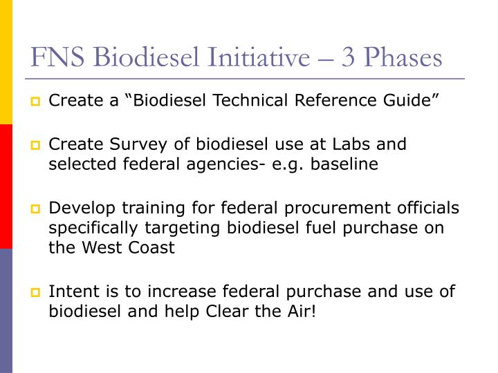 FNS Biodiesel Initiative – 3 Phases