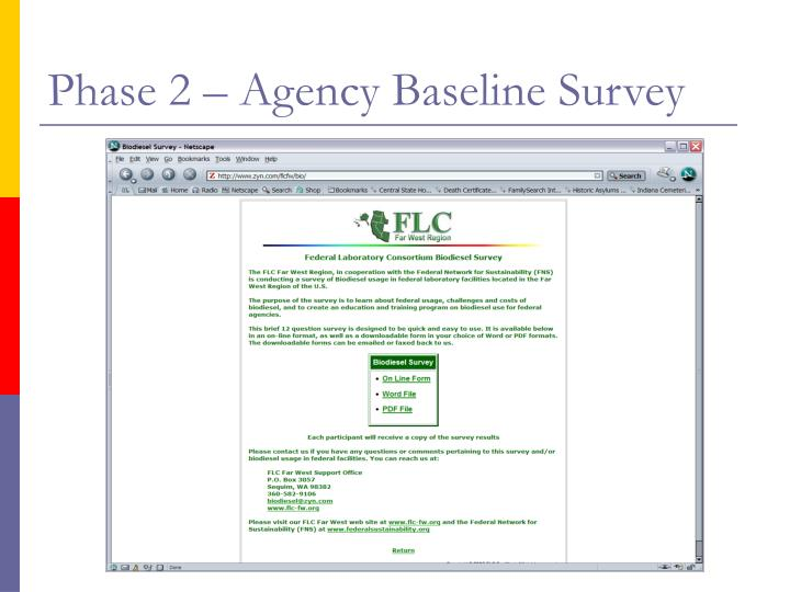 Phase 2 – Agency Baseline Survey