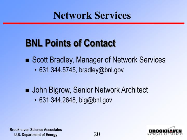 BNL Points of Contact