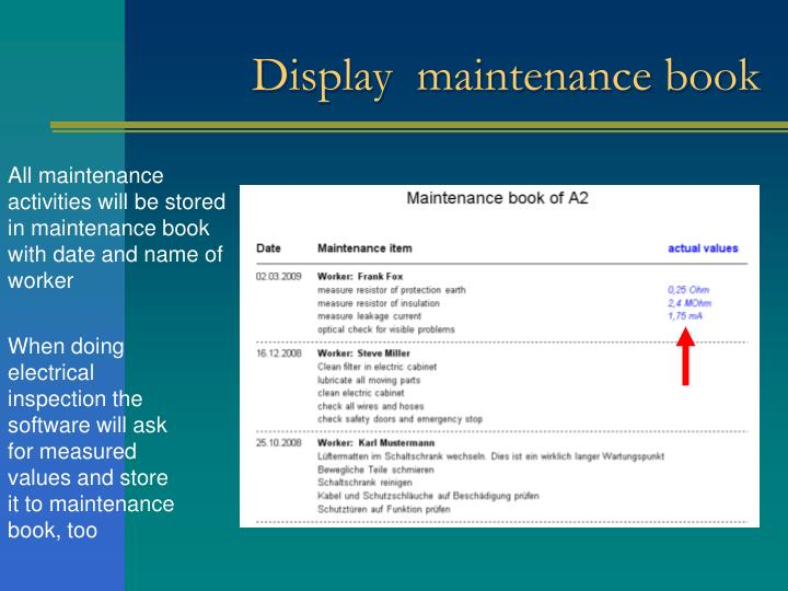 Display  maintenance book