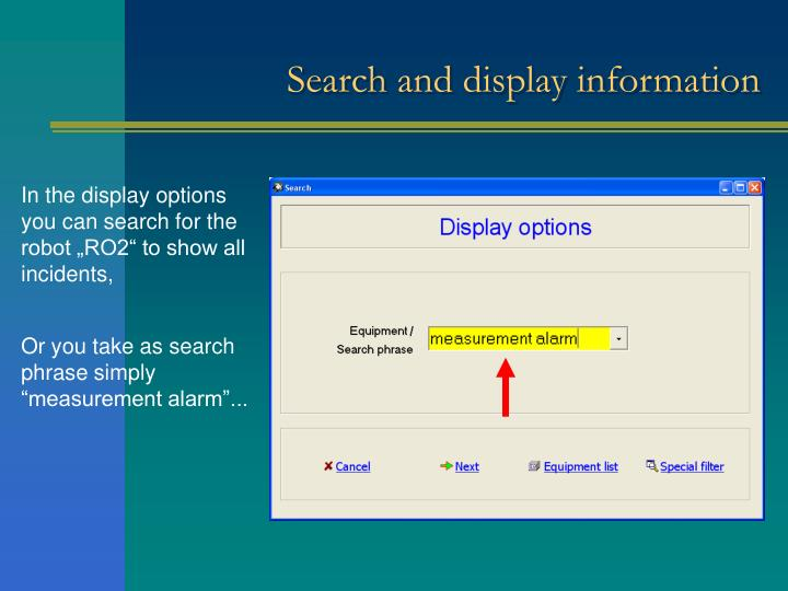 Search and display information