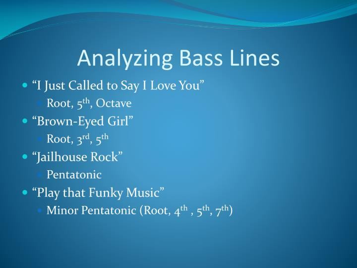Analyzing Bass Lines