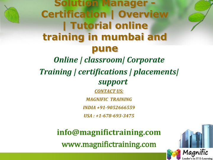 solution manager certification overview tutorial online training in mumbai and pune n.