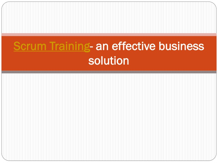 scrum training an effective business solution n.
