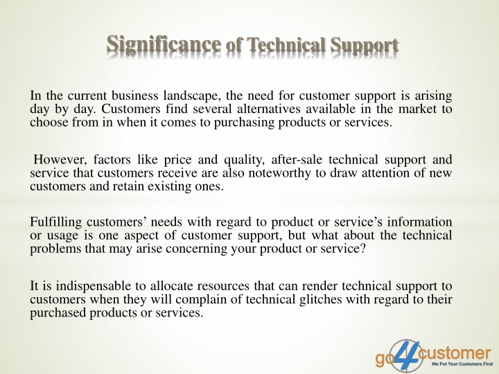 significance of technical support n.