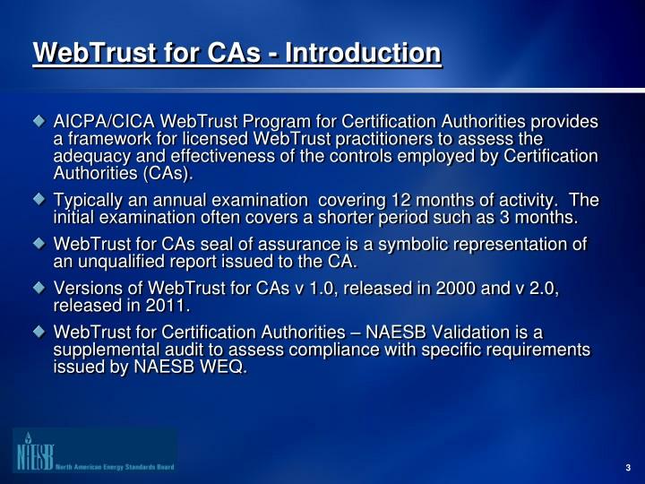 Ppt Webtrust For Certification Authorities Cas Overview October