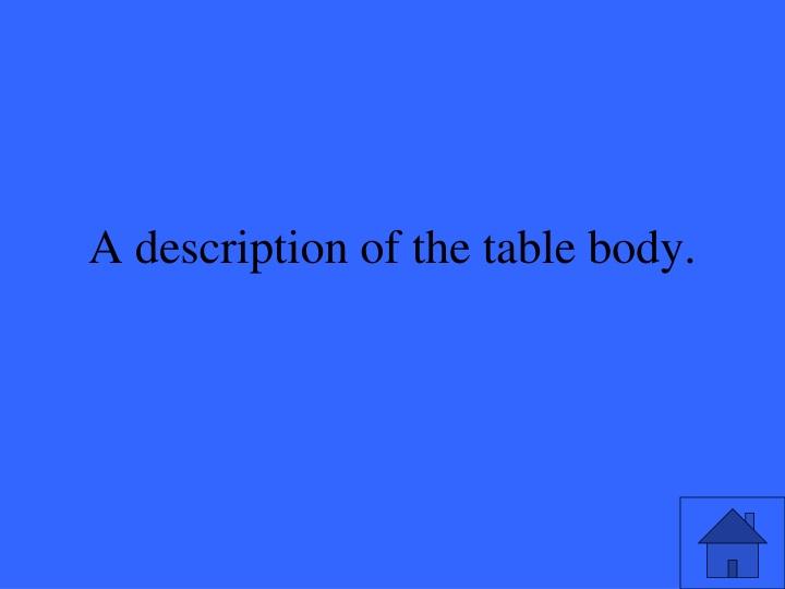 A description of the table body.