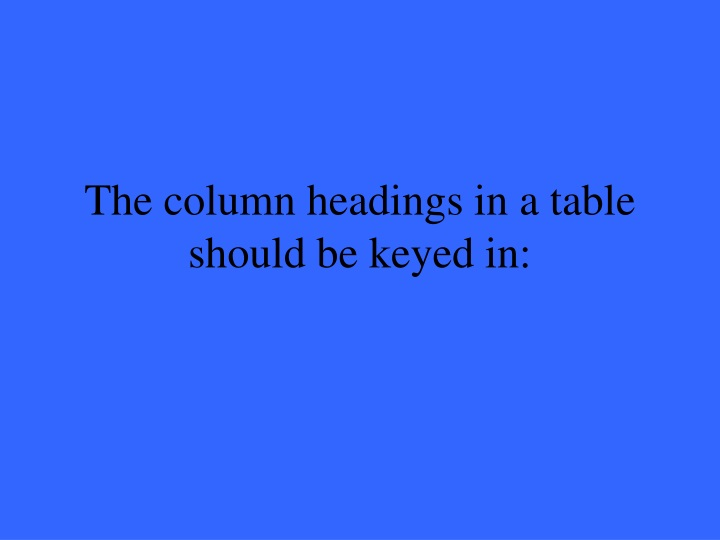 The column headings in a table should be keyed in: