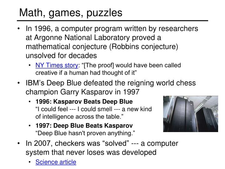 Math, games, puzzles