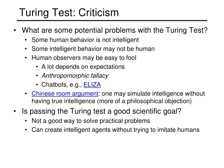 Turing Test: Criticism