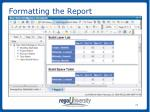 formatting the report