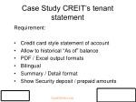 case study creit s tenant statement