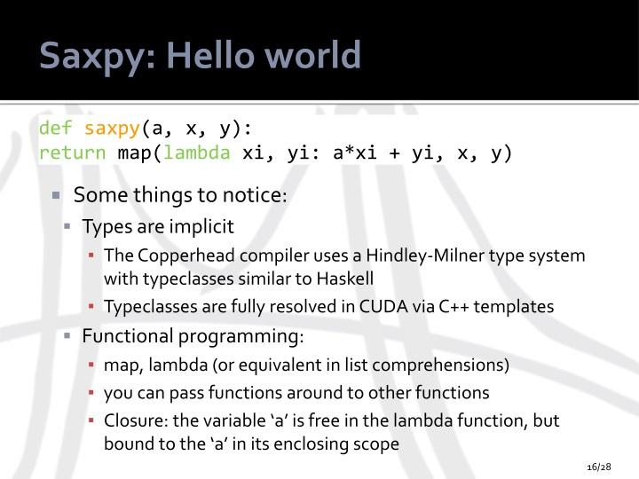 Saxpy: Hello world