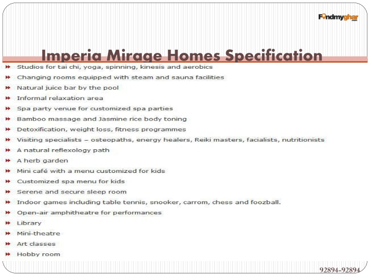 Imperia Mirage Homes Specification