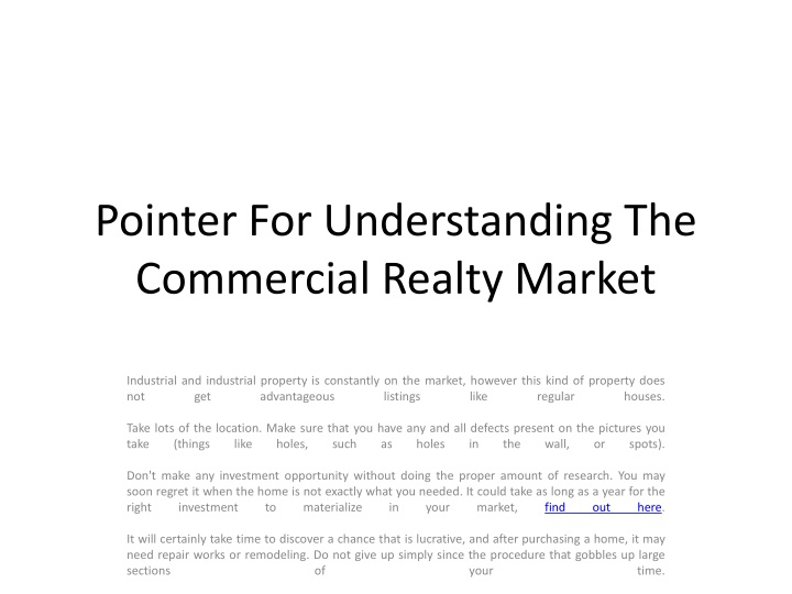 Pointer for understanding the commercial realty market