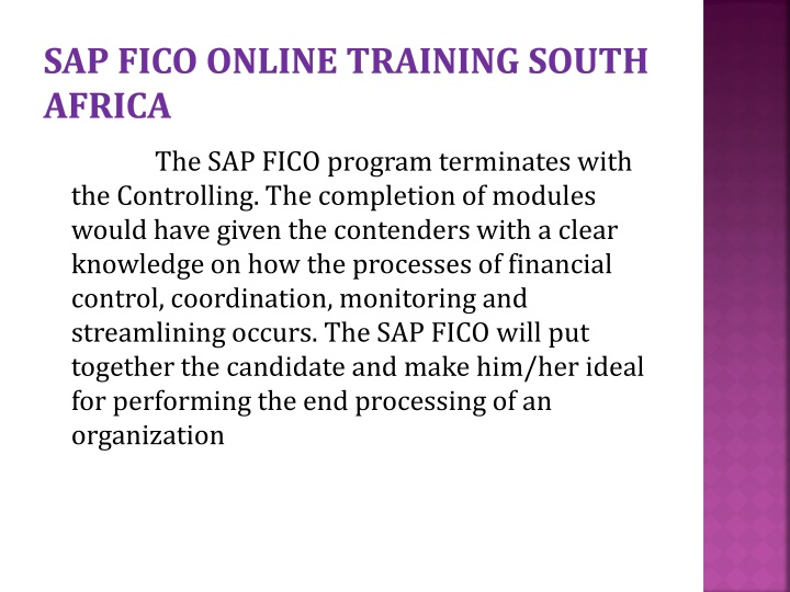 Sap fico online training south Africa