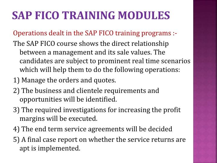 SAP FICO TRAINING MODULES