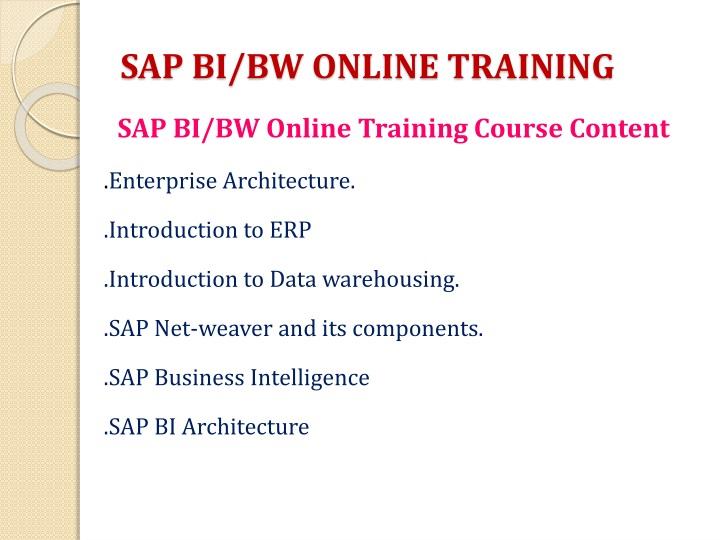 Sap bi bw online training