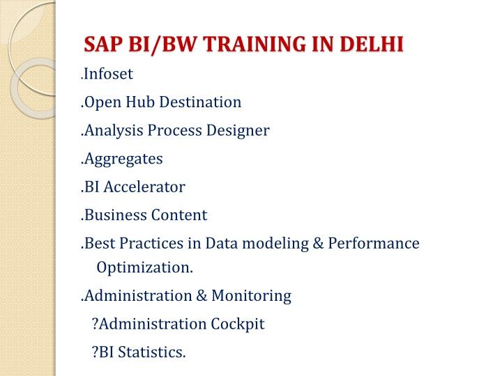 SAP BI/BW TRAINING IN DELHI