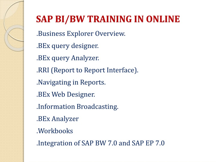 SAP BI/BW TRAINING IN ONLINE