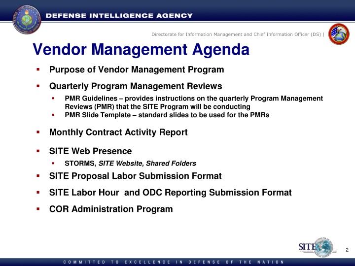vendor management agenda
