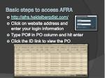 basic steps to access afra