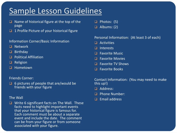 Sample Lesson Guidelines