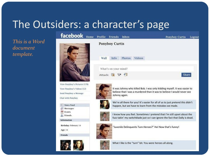 The Outsiders: a character's page