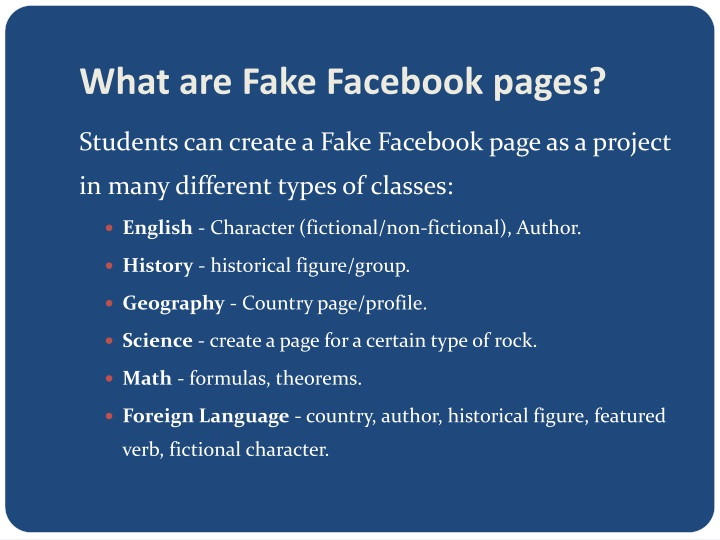 What are fake facebook pages