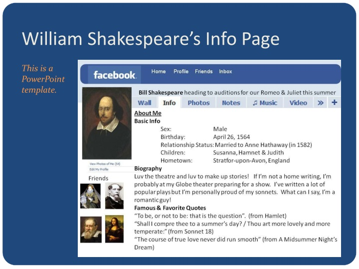 William Shakespeare's Info Page