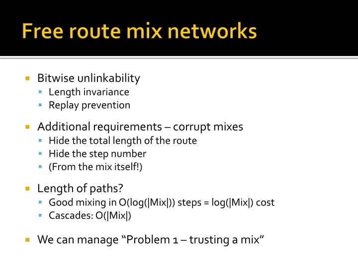 Free route mix networks