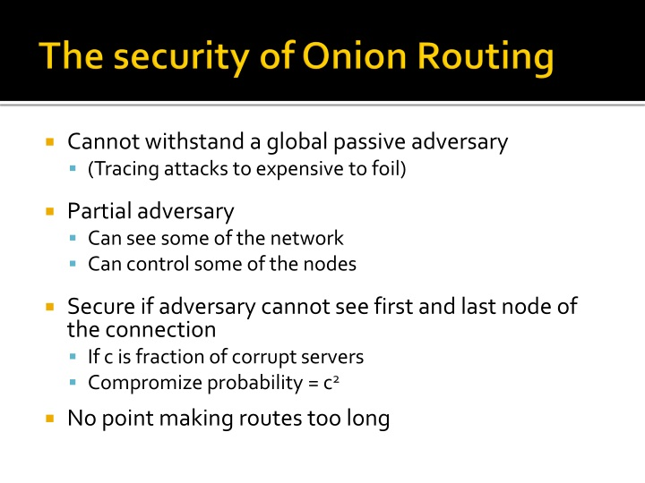 The security of Onion Routing