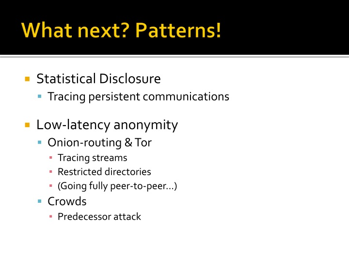 What next? Patterns!