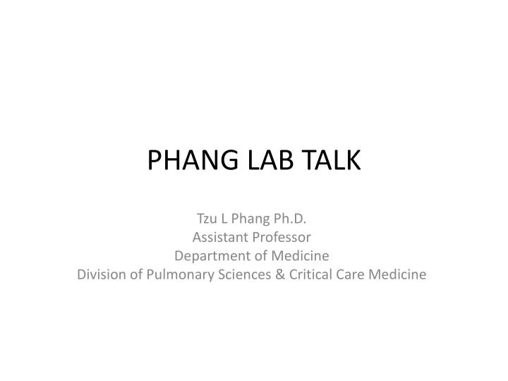 phang lab talk n.