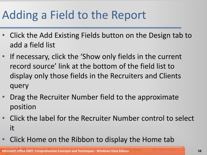 Adding a Field to the Report