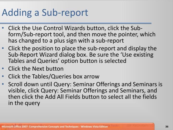 Adding a Sub-report