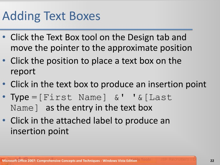 Adding Text Boxes