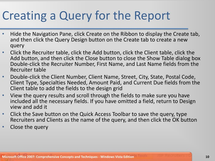 Creating a Query for the Report