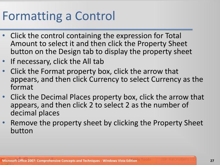 Formatting a Control