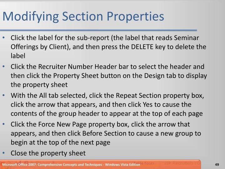 Modifying Section Properties